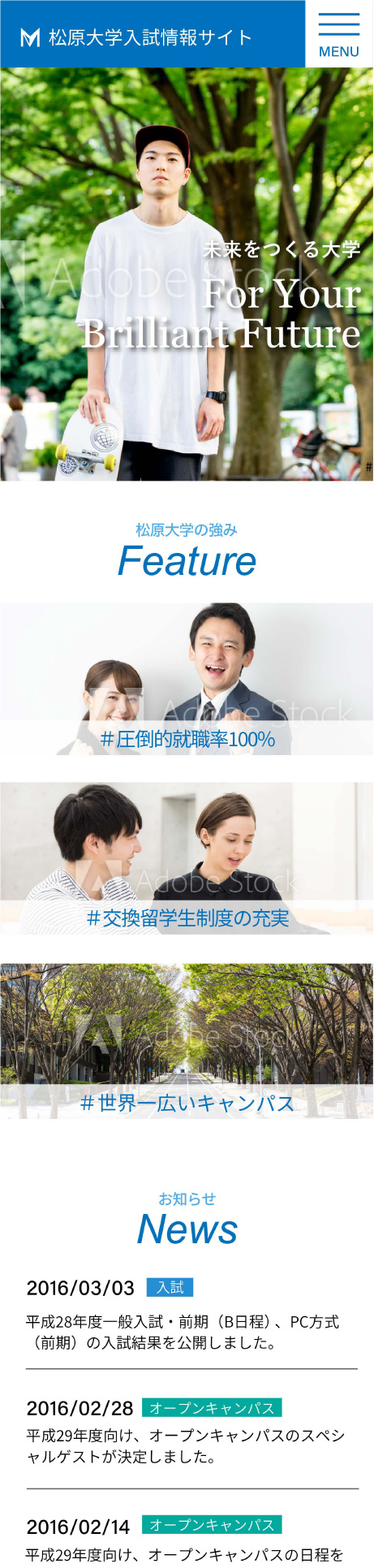 画像:卒業生制作物:WEBサイト:大学入試サイト